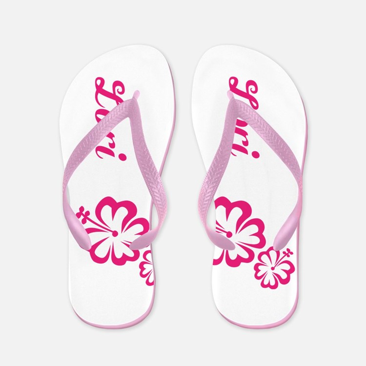 Custom Name Pink Hibiscus Hawaii Dream Flip Flops