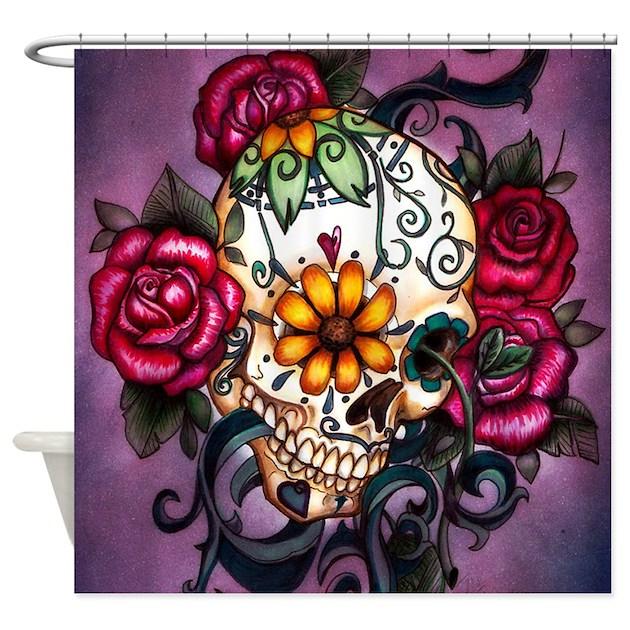 sugar skull shower curtain by anniesbohoboutique. Black Bedroom Furniture Sets. Home Design Ideas