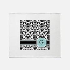 Letter G Black Damask Personal Monogram Throw Blan