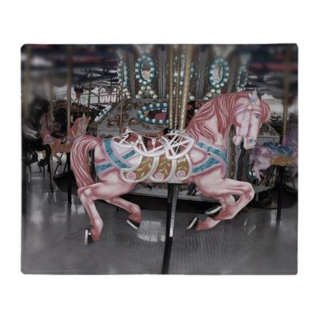 Pretty Carousel Horse Throw Blanket By Listing Store 111190267