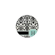 Letter H Black Damask Personal Monogram Mini Butto