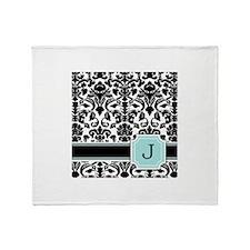 Letter J Black Damask Personal Monogram Throw Blan