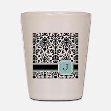Letter J Black Damask Personal Monogram Shot Glass
