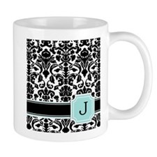 Letter J Black Damask Personal Monogram Mugs