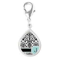 Letter J Black Damask Personal Monogram Charms
