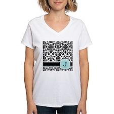 Letter J Black Damask Personal Monogram T-Shirt