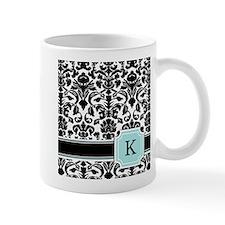 Letter K Black Damask Personal Monogram Mugs