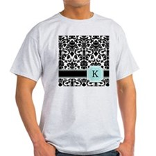 Letter K Black Damask Personal Monogram T-Shirt