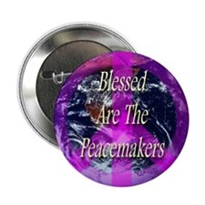 """Planet Earth Peace Symbol 2.25"""" Button (10 pack)"""