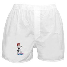 Martial Arts Girl - Ponytail Light/Red Boxer Short