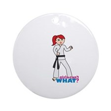Martial Arts Girl - Ponytail Light/Red Ornament (R