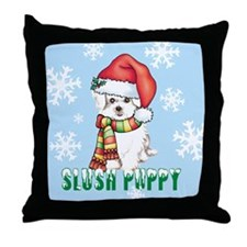 Holiday Maltese Throw Pillow