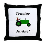 Green Tractor Junkie Throw Pillow