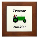 Green Tractor Junkie Framed Tile