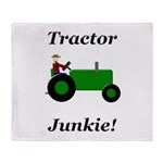 Green Tractor Junkie Throw Blanket