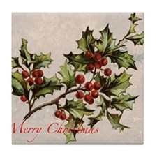 Vintage Christmas Holly  Tile Coaster