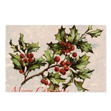 Vintage Christmas Holly  Postcards (Package of 8)