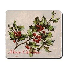 Vintage Christmas Holly  Mousepad