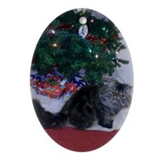 Christmas Persian Kitty Ornament (Oval)