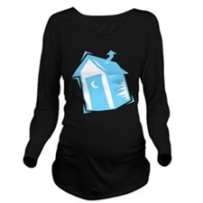 outhouse,blue.png Long Sleeve Maternity T-Shirt