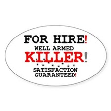 KILLER FOR HIRE! Decal
