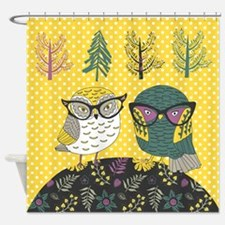 Trendy Owls Shower Curtain