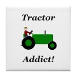 Green Tractor Addict Tile Coaster