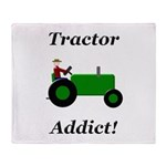 Green Tractor Addict Throw Blanket
