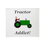 Green Tractor Addict Throw Blanket