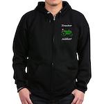 Green Tractor Addict Zip Hoodie (dark)