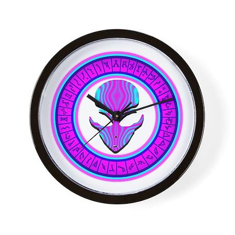 Pink N Aqua Stargate Alien Wall Clock