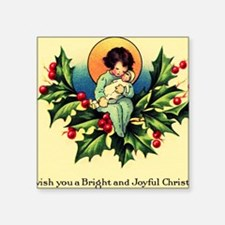 "Vintage Bright Christmas Square Sticker 3"" x 3"""