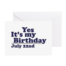 July 22 Birthday Greeting Cards (Pk of 10)