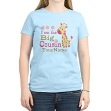 Pink Giraffe Big Cousin Personalized T-Shirt