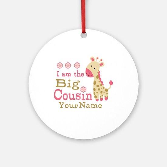 Pink Giraffe Big Cousin Personalized Ornament (Rou
