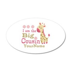 Pink Giraffe Big Cousin Personalized Wall Decal