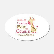 Pink Giraffe Big Cousin Personalized Wall Decal