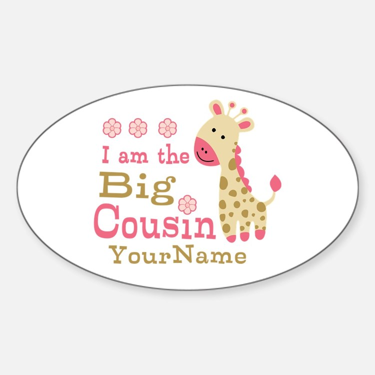 Pink Giraffe Big Cousin Personalized Decal