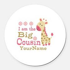 Pink Giraffe Big Cousin Personalized Round Car Mag