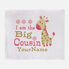 Pink Giraffe Big Cousin Personalized Throw Blanket