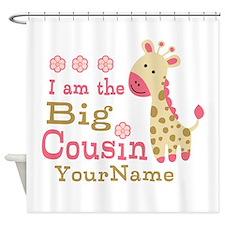Pink Giraffe Big Cousin Personalized Shower Curtai