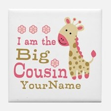 Pink Giraffe Big Cousin Personalized Tile Coaster