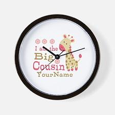 Pink Giraffe Big Cousin Personalized Wall Clock