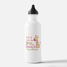Pink Giraffe Big Cousin Personalized Water Bottle
