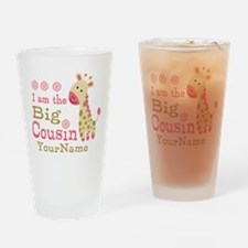 Pink Giraffe Big Cousin Personalized Drinking Glas