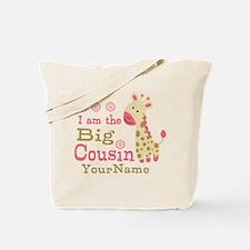 Pink Giraffe Big Cousin Personalized Tote Bag