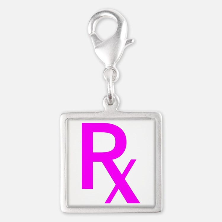 Pink Rx Symbol Silver Square Charm