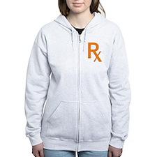 Orange Rx Symbol Zip Hoodie