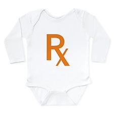 Orange Rx Symbol Long Sleeve Infant Bodysuit