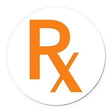 Orange Rx Symbol Round Car Magnet